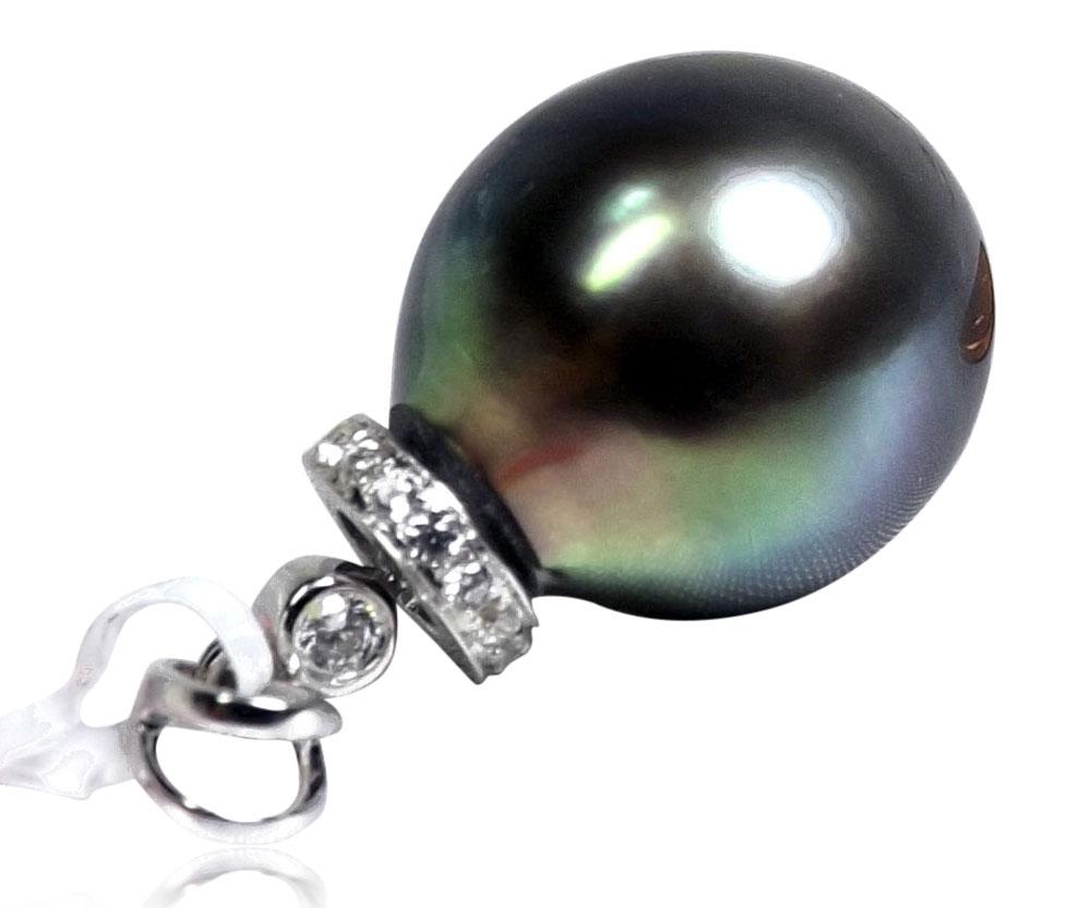 Tahitian Round Pearl 14K White Gold Diamond Pendant