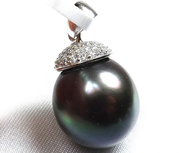 14K White Gold Tahitian round pearl pendant
