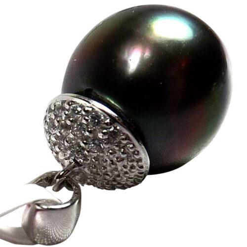 Large 14KWG Tahitian Peacock Black Round Pearl Pendant