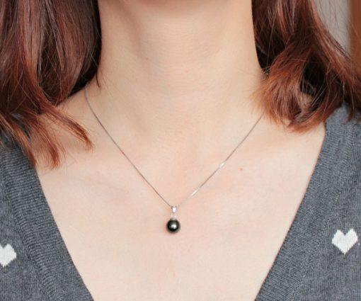 Black 9-10mm Tahitian Pearl Pendant, 14K WG
