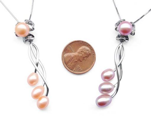 Pink and Mauve 8-9mm Four Real Pearl SS Necklace