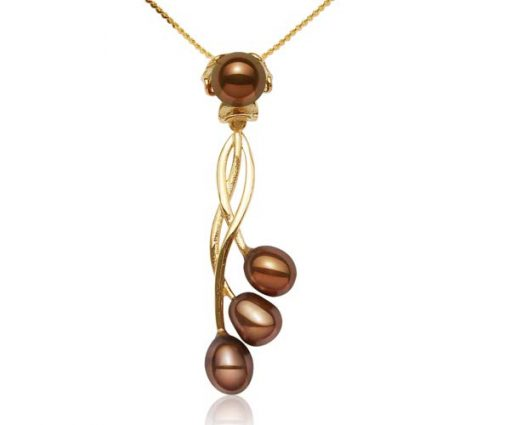 Chocolate 8-9mm Four Real Pearl SS Necklace