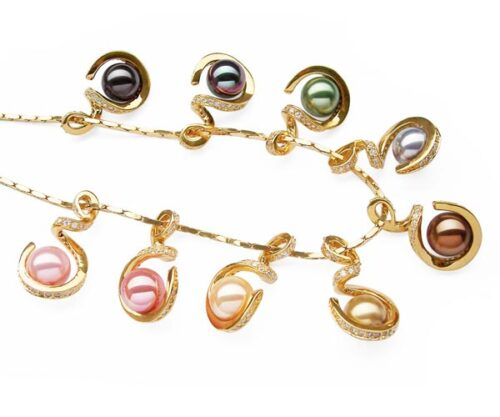 Rose Pink, Gold, Pale Pink, Silver Grey, Champagne and Chocolate 10mm SSS Pearl Pendant in Spiral Design