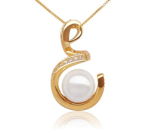 White 10mm SSS Pearl Pendant in Spiral Design