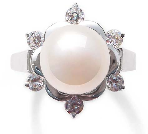 White 9-10mm Pearl Ring in Snow Flower Design, 925 SS