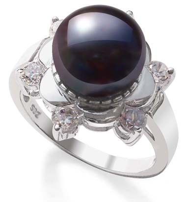 Black 9-10mm Pearl Ring in Snow Flower Design, 925 SS