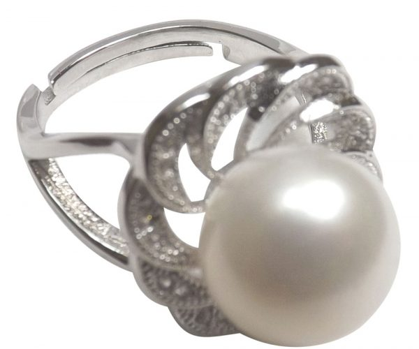 925S Silver Large Pearl Ring