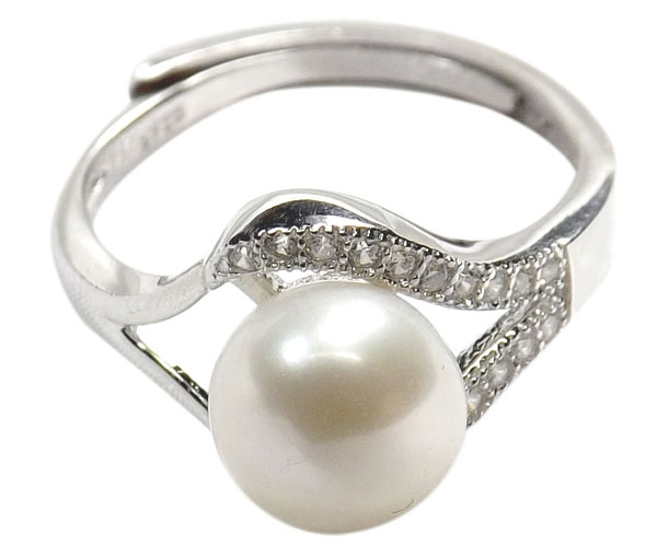 Sterling Silver White Pearl Ring Adjustable Size