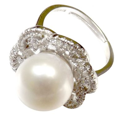925S Silver Large Adjustable Pearl Diamond Ring