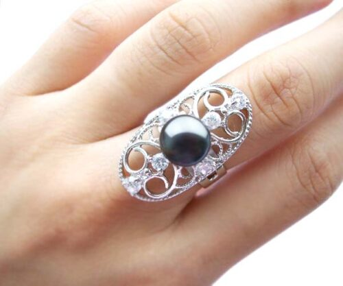 Black 9-10mm Oval Shaped Pearl Ring with 6 Cz Diamonds and 925 SS