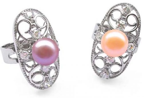 Mauve and Pink 9-10mm Oval Shaped Pearl Ring with 6 Cz Diamonds and 925 SS