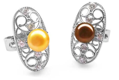 Gold and Chocolate 9-10mm Oval Shaped Pearl Ring with 6 Cz Diamonds and 925 SS