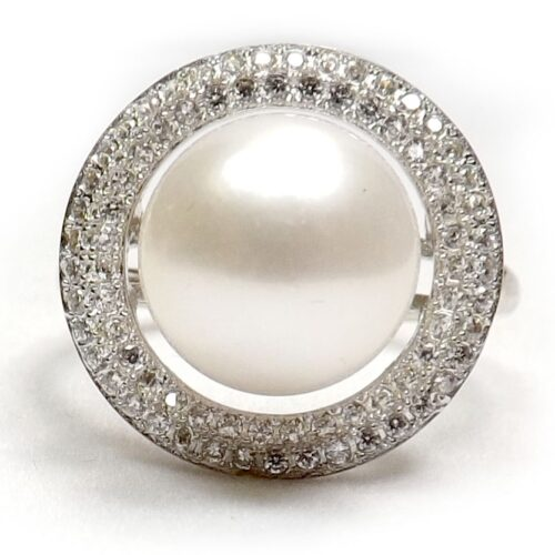925 Sterling Silver 10-10.5mm Pearl Ring