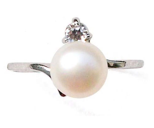 White Pearl Ring with a Single CZ Diamond