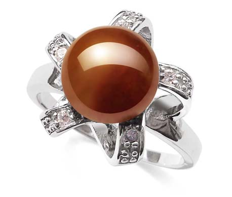 Chocolate Large 9.5-10mm Pearl SS Ring with CZ Diamonds