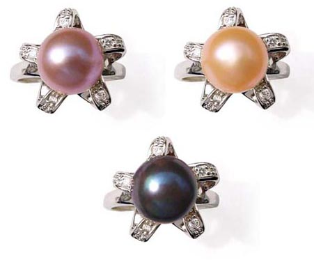 Mauve, Pink and Black Large 9.5-10mm Pearl SS Ring with CZ Diamonds