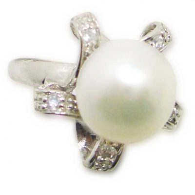 White Large 9.5-10mm Pearl SS Ring with CZ Diamonds