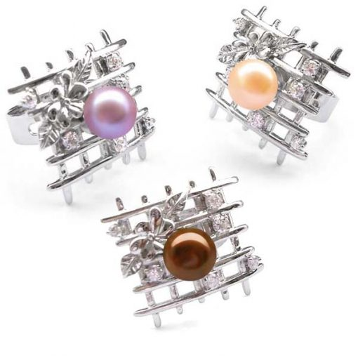 Mauve, Pink and Chocolate Fantasy Lattice Shaped Pearl Ring with 6 Cz Diamonds in 925 SS