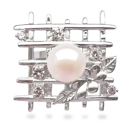 White Fantasy Lattice Shaped Pearl Ring with 6 Cz Diamonds in 925 SS
