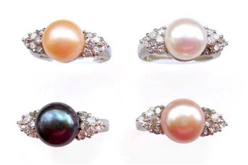 Pink, White, Black and Mauve 8-8.5mm Pearl SS Ring with Shining Cz Diamonds on Sides, 18K WG Overlay