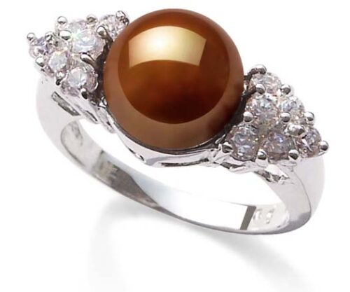 Chocolate 8-8.5mm Pearl SS Ring with Shining Cz Diamonds on Sides, 18K WG Overlay