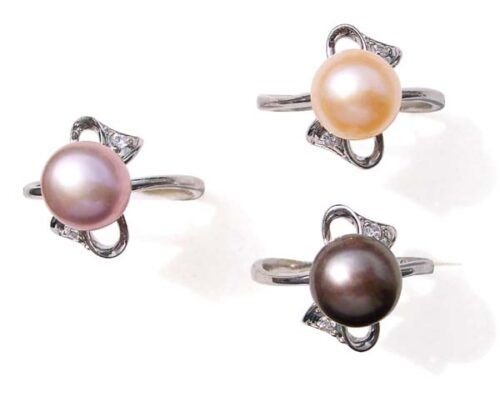 Lavender, Black and Pink 9.5-10mm Stamped SS Pearl Ring