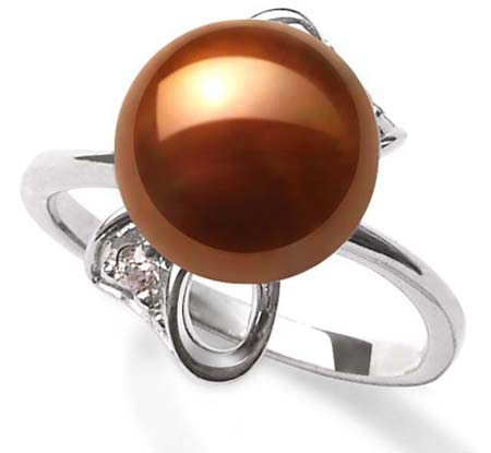 Chocolate 9.5-10mm Stamped SS Pearl Ring