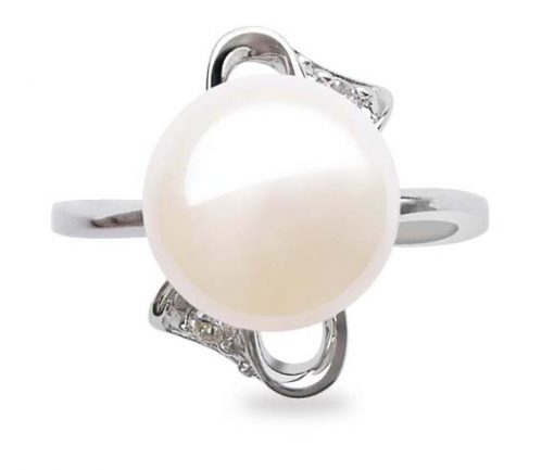White 9.5-10mm Stamped SS Pearl Ring