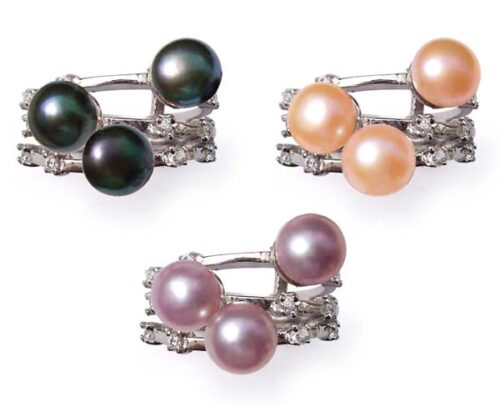 Black, Pink and Lavender 6-7mm Beautiful 3 Pearl Ring Pearl SSS Ring