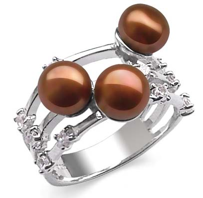 Chocolate 6-7mm Beautiful 3 Pearl Ring Pearl SSS Ring