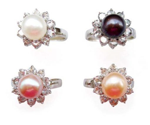 White, Black, Mauve and Pink SS Pearl Ring with 10 Translucent Cz Diamonds Surrounded