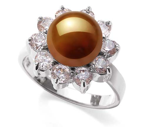Chocolate SS Pearl Ring with 10 Translucent Cz Diamonds Surrounded