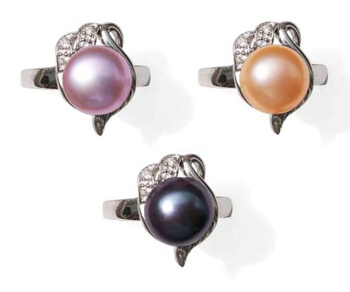 Lavender, Champagne and Black 9.5-10mm Stamped SS Pearl Ring with Cz Diamonds