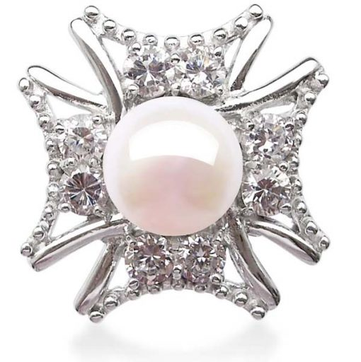 White  9-10mm Pearl Cross Shaped 925 SS Ring
