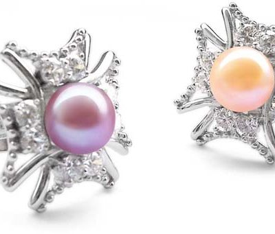 Mauve and Pink  9-10mm Pearl Cross Shaped 925 SS Ring