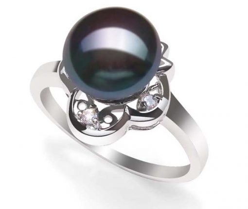 Black Stamped 925 SS High Quality Pearl Ring
