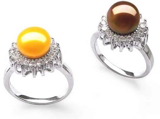 Gold and Chocolate 9-10mm 925 SS and Pearl Ring Surrounded by 16 Translucent CZ Diamonds