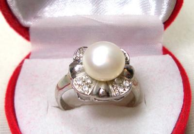 White SS Pearl Flower Ring, Stamped 925