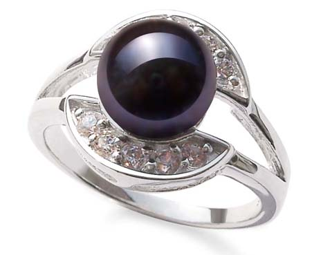 Black 8mm Freshwater Pearl Ring, Stamped 925 SS