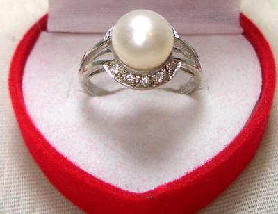 White 8mm Freshwater Pearl Ring, Stamped 925 SS