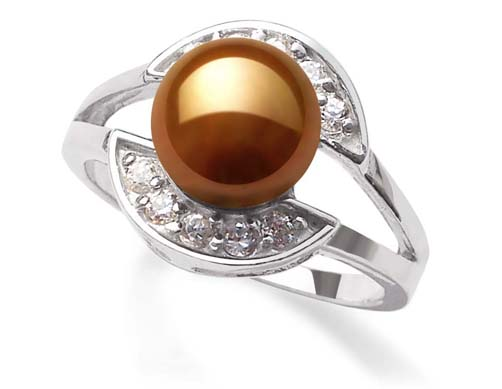 Chocolate 8mm Freshwater Pearl Ring, Stamped 925 SS
