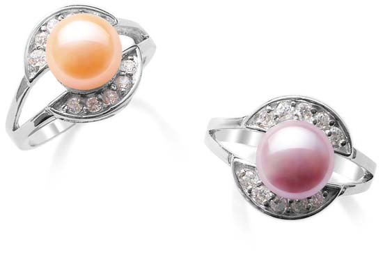 Pink and Mauve 8mm Freshwater Pearl Ring, Stamped 925 SS