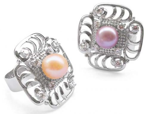 Pink and Mauve Stylish Large 9-10mm Pearl Ring in Spray Design and 925 SS