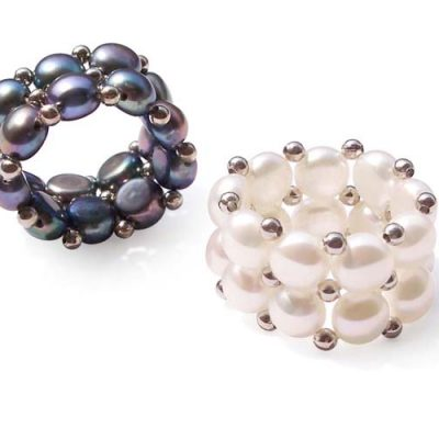 Black and White 6.5-7.5mm Stretchable Pancake Pearl Ring