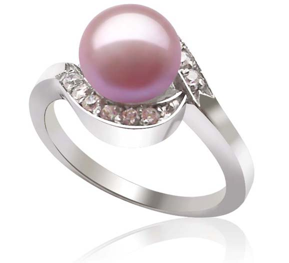 Pink SS Cultured Freshwater Pearl Ring, 18K WG overlay