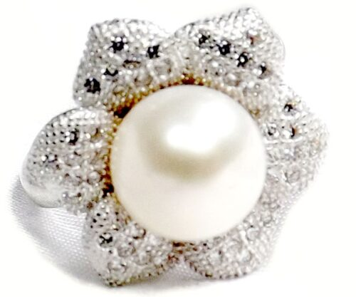 White 9-10mm Pearl Ring 925 Sterling Silver