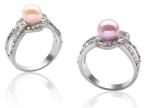 Mauve and Pink Heart Shaped Pearl Ring with 7-8mm Pearl, 18K WG Overlay
