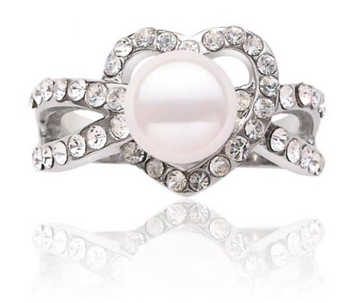 White Heart Shaped Pearl Ring with 7-8mm Pearl, 18K WG Overlay