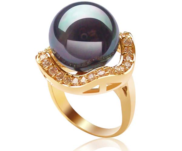 Black Large 14mm SSS Pearl Ring, 18K YG Overlay