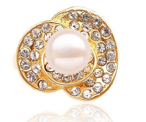 White 7-8mm Freshwater Pearl Ring, 18K YG Overlay